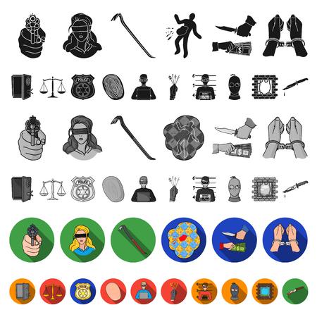 Misdaad en straf plat pictogrammen in set collectie voor design.Criminele vector symbool stock illustratie.