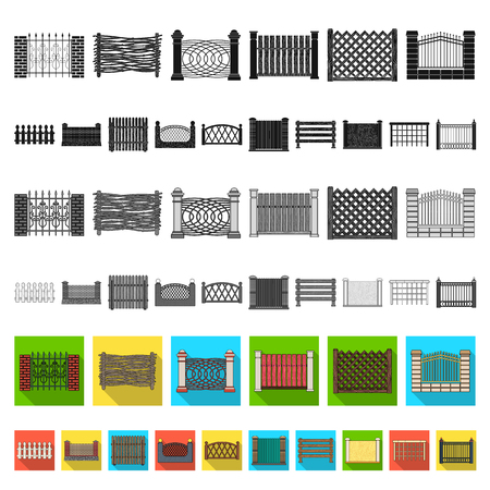 Different fence flat icons in set collection for design.Decorative fencing vector symbol stock  illustration.