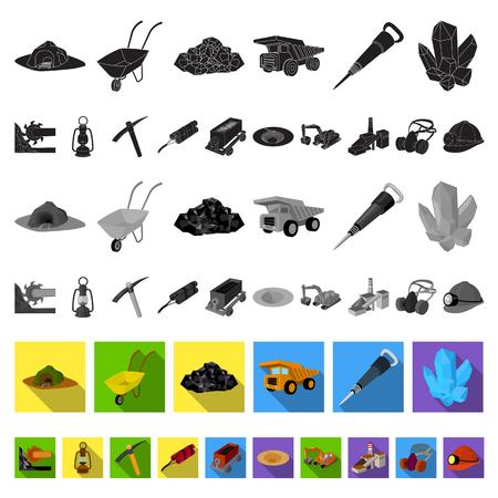 Mining industry flat icons in set collection for design. Equipment and tools vector symbol stock illustration. Vektoros illusztráció