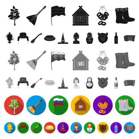 Country Russia, travel flat icons in set collection for design. Attractions and features vector symbol stock web illustration. Çizim