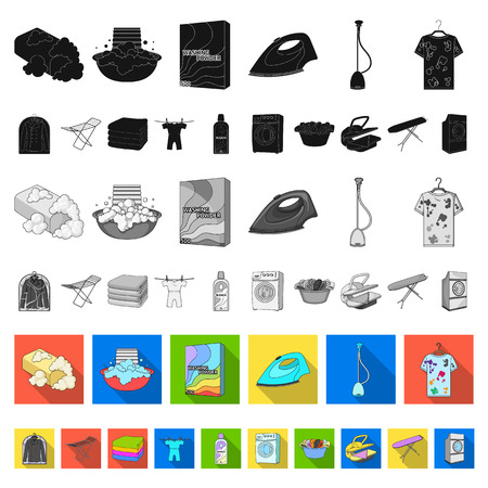 Dry cleaning equipment flat icons in set collection for design. Washing and ironing clothes vector symbol stock web illustration. Ilustração