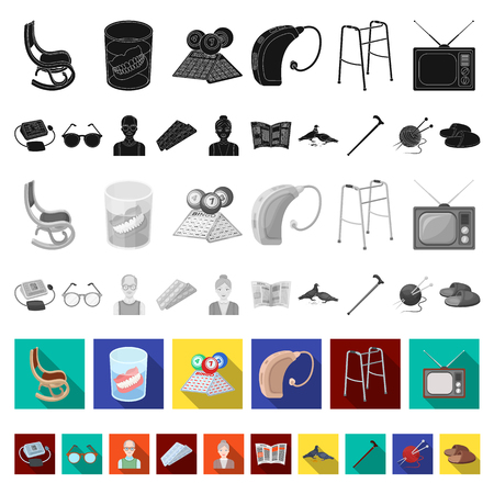 Human old age flat icons in set collection for design. Pensioner, period of life vector symbol stock web illustration. Vettoriali