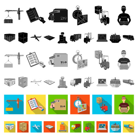 Logistics and delivery flat icons in set collection for design. Transport and equipment isometric vector symbol stock web illustration.