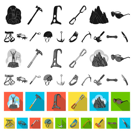Mountaineering and climbing flat icons in set collection for design. Equipment and accessories vector symbol stock web illustration. Vectores