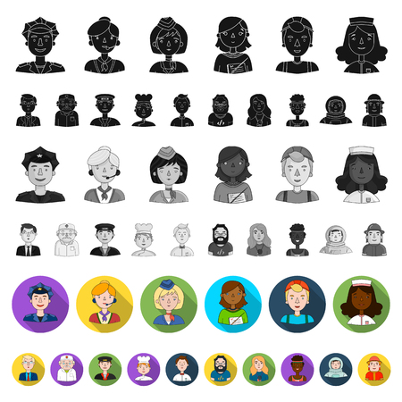 People of different professions flat icons in set collection for design. Worker and specialist vector symbol stock web illustration. Vectores