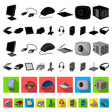 Personal computer flat icons in set collection for design. Equipment and accessories vector symbol stock web illustration.