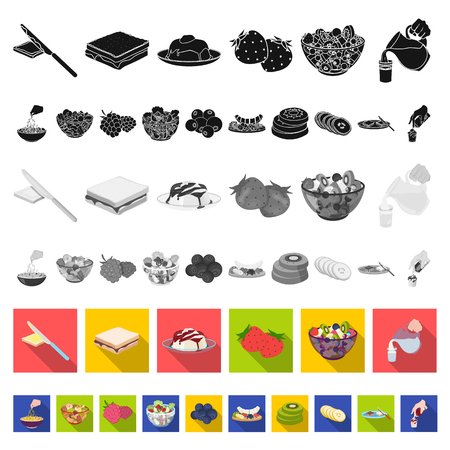 Dessert fragrant flat icons in set collection for design. Food and sweetness vector symbol stock web illustration.