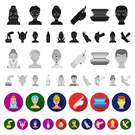 Skin care flat icons in set collection for design. Face and body vector symbol stock web illustration.