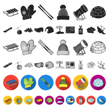 Ski resort and equipment flat icons in set collection for design. Entertainment and recreation vector symbol stock web illustration.
