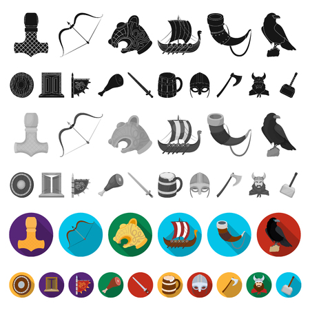 Vikings and attributes flat icons in set collection for design.Old Norse Warrior vector symbol stock web illustration. Illustration