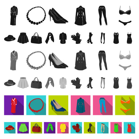 Women s Clothing flat icons in set collection for design.Clothing Varieties and Accessories vector symbol stock web illustration.