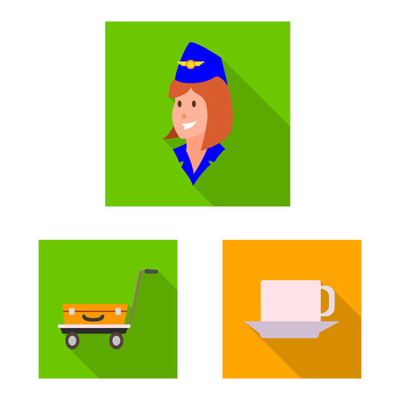 Vector design of airport and airplane icon. Collection of airport and plane stock symbol for web. Vettoriali