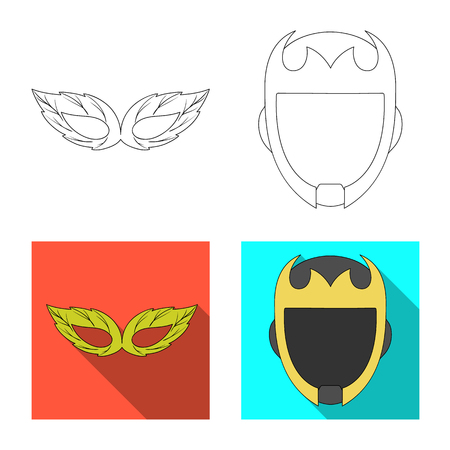 Vector illustration of hero and mask symbol. Set of hero and superhero stock vector illustration.