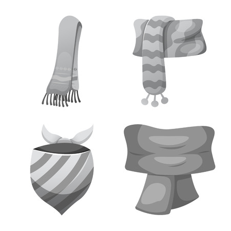 Vector design of scarf and shawl symbol. Set of scarf and accessory stock symbol for web.