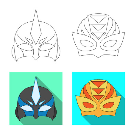 Vector illustration of hero and mask symbol. Collection of hero and superhero stock symbol for web. Illustration