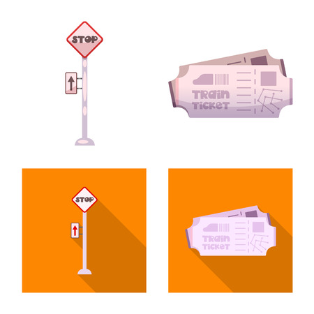 Vector illustration of train and station icon. Set of train and ticket stock symbol for web.  イラスト・ベクター素材