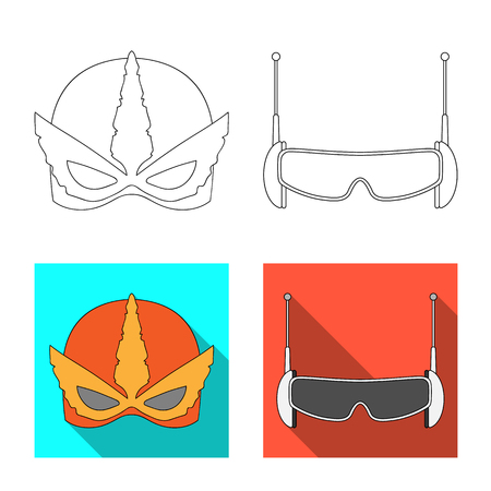 Isolated object of hero and mask icon. Collection of hero and superhero stock vector illustration.