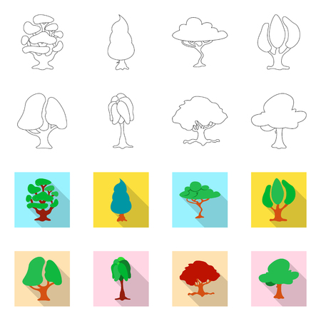 Isolated object of tree and nature logo. Collection of tree and crown stock symbol for web.