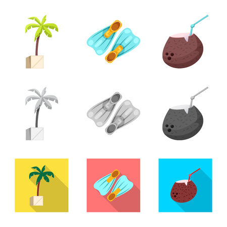 Vector design of pool and swimming symbol. Set of pool and activity vector icon for stock.