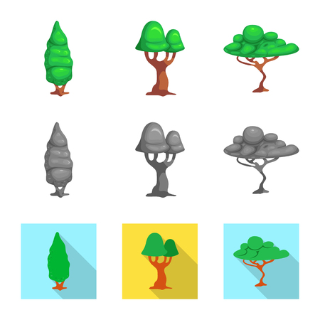 Isolated object of tree and nature symbol. Collection of tree and crown stock symbol for web.