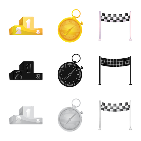 Isolated object of car and rally icon. Collection of car and race vector icon for stock. Ilustrace