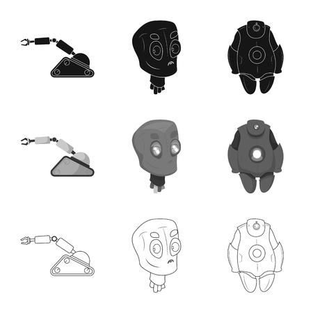 Diseño vectorial de robot e icono de fábrica. Conjunto de símbolo de stock de robot y espacio para web.