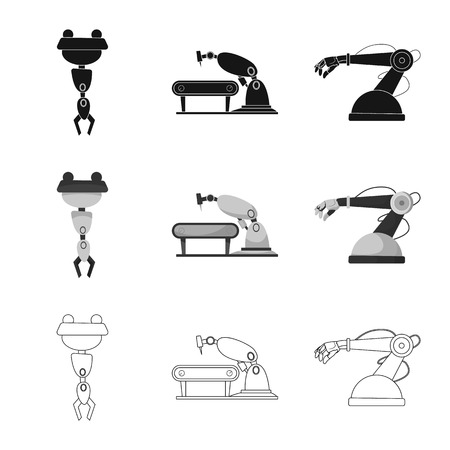 Isolated object of robot and factory icon. Collection of robot and space stock vector illustration.