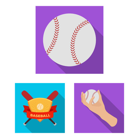 Baseball and attributes flat icons in set collection for design.Baseball player and equipment bitmap symbol stock web illustration. Stok Fotoğraf