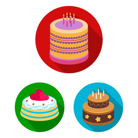 Cake and dessert flat icons in set collection for design. Holiday cake bitmap symbol stock web illustration.