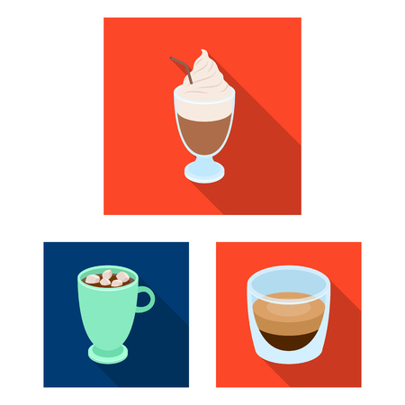 Different kinds of coffee flat icons in set collection for design. Coffee drink bitmap symbol stock web illustration.