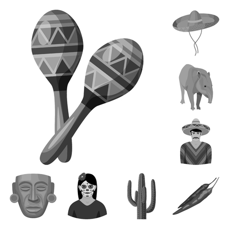 Country Mexico monochrome icons in set collection for design. Mexico and landmark bitmap symbol stock web illustration.