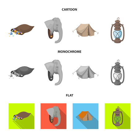 A bag of diamonds, an elephant head, a kerosene lamp, a tent. African safari set collection icons in cartoon,flat,monochrome style bitmap symbol stock illustration web. Stock Photo