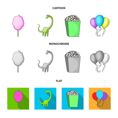 Sweet cotton wool on a stick, a toy dragon, popcorn in a box, colorful balloons on a string. Amusement park set collection icons in cartoon,flat,monochrome style bitmap symbol stock illustration web.
