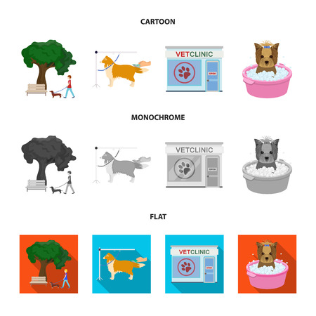 Walking with a dog in the park, combing a dog, a veterinarian office, bathing a pet. Vet clinic and pet care set collection icons in cartoon,flat,monochrome style bitmap symbol stock illustration web. Stock Photo