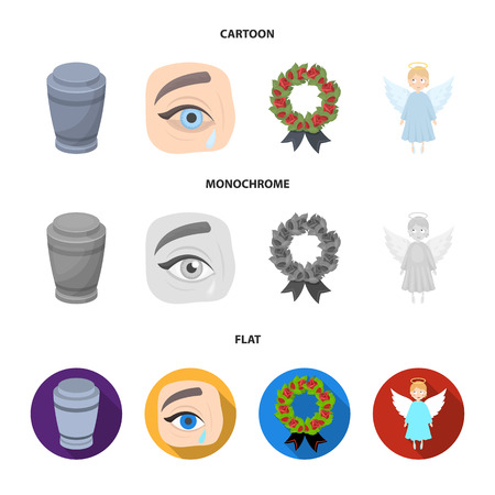 The urn with the ashes of the deceased, the tears of sorrow for the deceased at the funeral, the mourning wreath, the angel of death. Funeral ceremony set collection icons in cartoon,flat,monochrome style bitmap symbol stock illustration web.