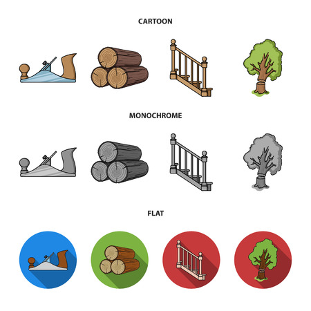 Logs in a stack, plane, tree, ladder with handrails. Sawmill and timber set collection icons in cartoon,flat,monochrome style bitmap symbol stock illustration web.