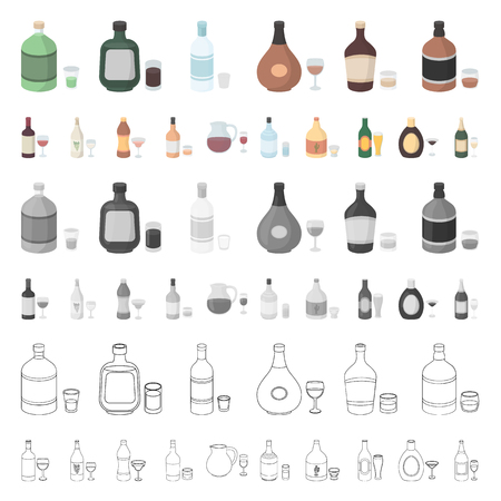 Types of alcohol cartoon icons in set collection for design. Alcohol in bottles vector symbol stock  illustration. 向量圖像
