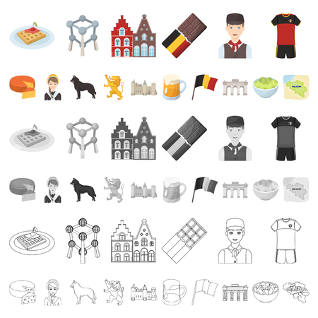 Country Belgium cartoon icons in set collection for design.Travel and attractions Belgium vector symbol stock illustration.