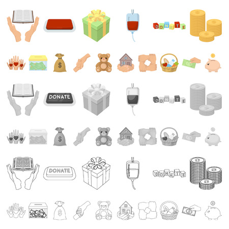 Charity and donation cartoon icons in set collection for design. Material aid vector symbol stock  illustration.