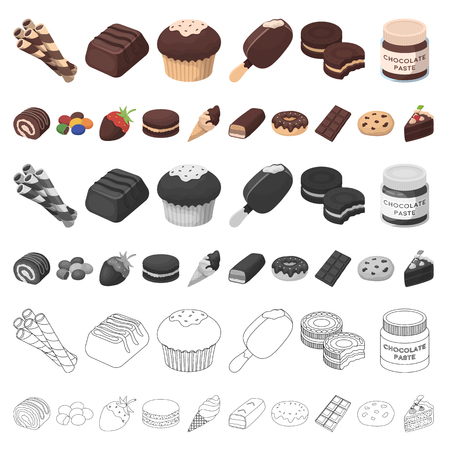 Chocolate Dessert cartoon icons in set collection for design. Chocolate and Sweets vector symbol stock  illustration.