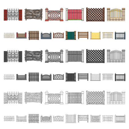 Different fence cartoon icons in set collection for design.Decorative fencing vector symbol stock illustration.