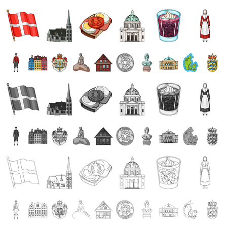 Country Denmark cartoon icons in set collection for design. Travel and attractions Denmark vector symbol stock illustration. Çizim