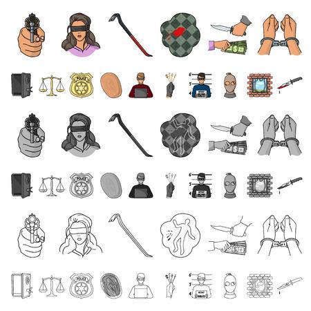 Misdaad en straf cartoon pictogrammen in set collectie voor design.Criminele vector symbool stock illustratie.