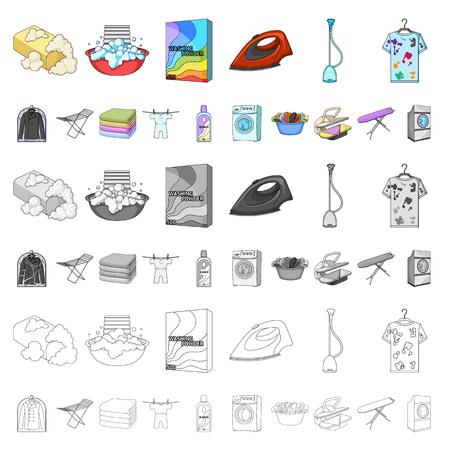 Equipo de limpieza en seco, dibujos animados, iconos de colección set de diseño. Lavado y planchado de ropa vector símbolo stock de ilustración. Ilustración de vector