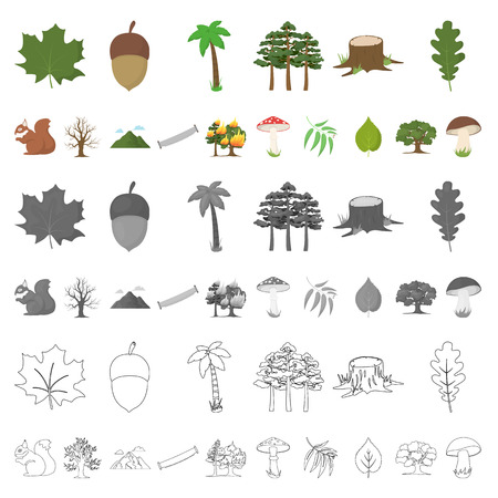 Forest and nature cartoon icons in set collection for design. Forest life vector symbol stock  illustration. Stock Illustratie