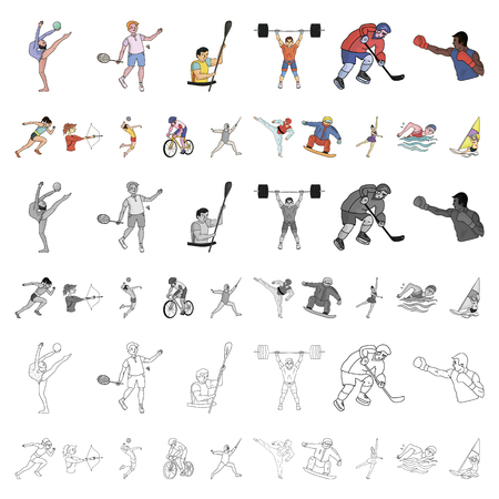 Different kinds of sports cartoon icons in set collection for design. Athlete, competitions vector symbol stock  illustration. Ilustracja