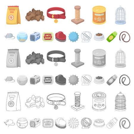 Pet shop cartoon icons in set collection for design.The goods for animals vector symbol stock illustration.