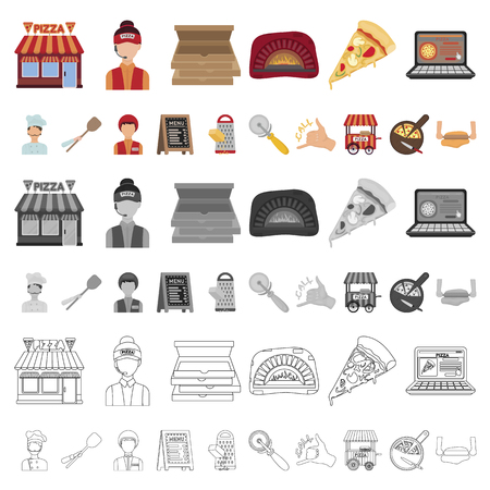Pizza and pizzeria cartoon icons in set collection for design. Staff and equipment vector symbol stock illustration.