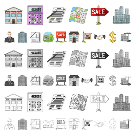 agency cartoon icons in set collection for design. Buying and selling real estate vector symbol stock illustration.