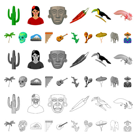 Country Mexico cartoon icons in set collection for design. Mexico and landmark vector symbol stock  illustration.